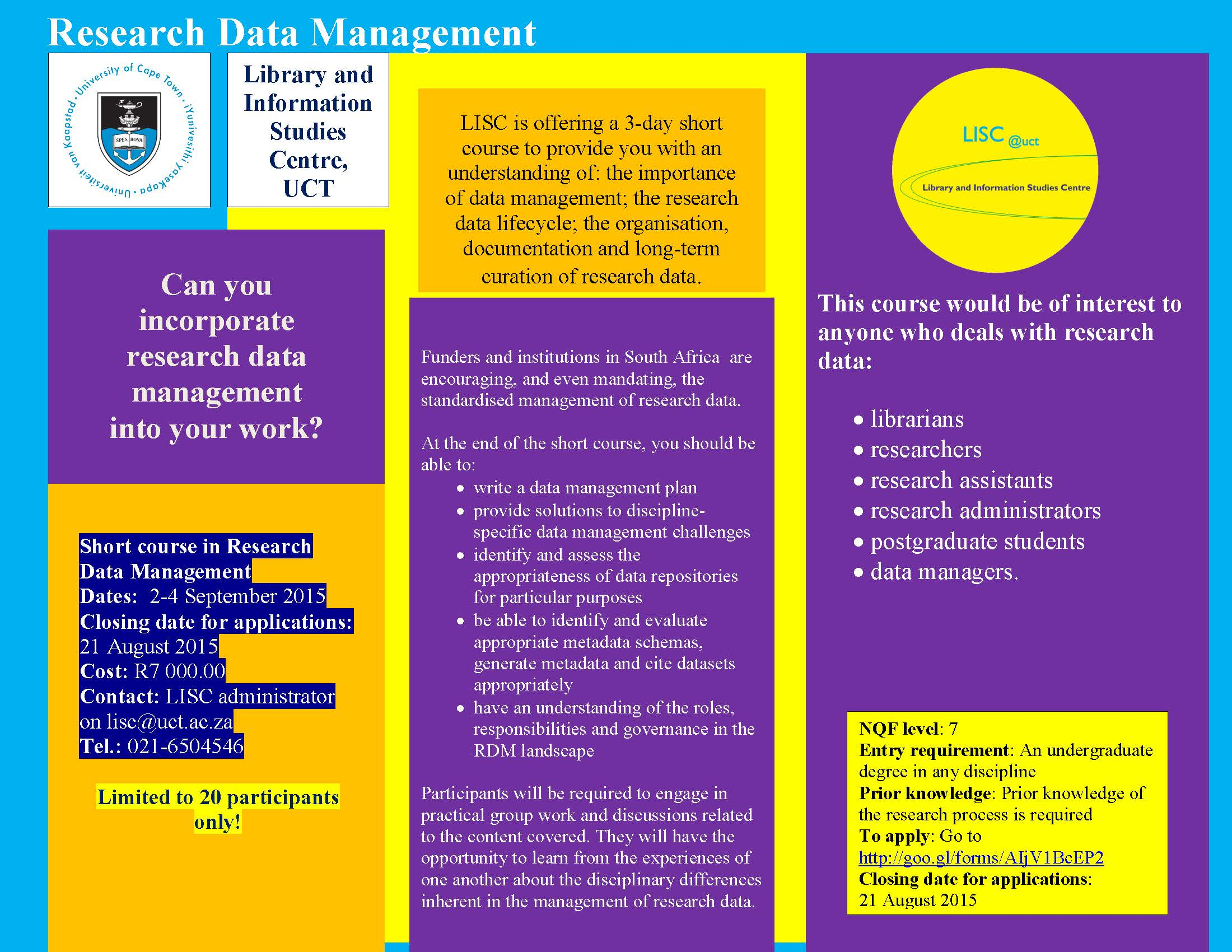 UCT Research Data Management short course